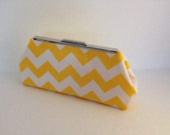 Yellow and White Chevron Clutch Purse with Silver Finish Snap Close Frame