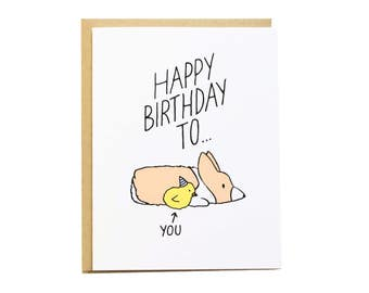 Chick Birthday Card, Girlfriend Birthday, Corgi Card, Corgi Birthday Card, Funny Birthday Card, Best Friend Birthday, Girlfriend