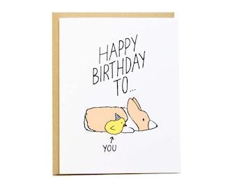 Poussin anniversaire carte, anniversaire, la petite amie Corgi Card, carte d'anniversaire de Corgi, drôle d'anniversaire carte, anniversaire, la meilleur amie amie