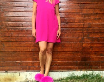 Dress/summer dress/Cyclamate dress /party dress /evening dress /pink dress with black Ribbon