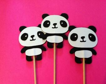 12 panda cupcake toppers, panda bear food picks,  cupcake toppers
