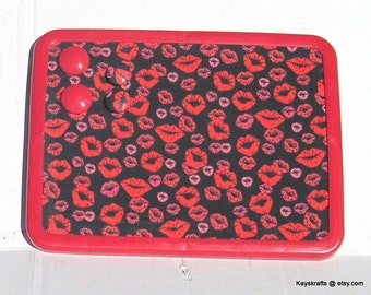 Give Me A Kiss Lips Magnet Board, Magnetic Magnet Bulletin Board, 8x11 Magnetic Message Board, Valentines Day Gift, Kitchen Decor