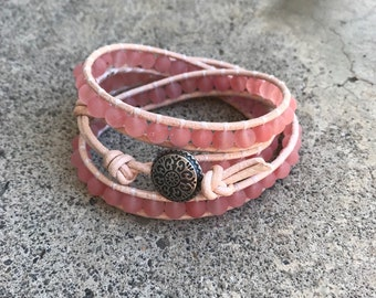 Matte rose quartz beaded leather wrap bracelet