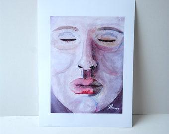 A3 Art Print. Wall Art. Illustration- Closed Eyes