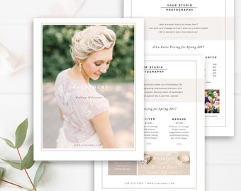 Wedding Photographer Price List Template Set, Pricing Guide Templates, Photography Price List, Wedding Pricing - INSTANT DOWNLOAD!