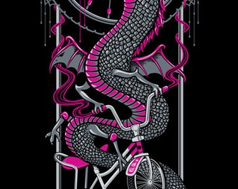 Desert Rose Dragon screenprint poster, hot pink and black monster bike ride print, 12x24 art nouveau serpent screen print