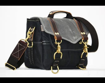 PETITE Waxed Canvas Messenger bag - Solid Brass Hardware by Alex M Lynch - 010035