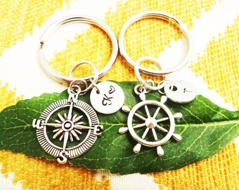 COMPASS and SHIP WHEEL keychains with initial charms - choose keyrings or clasps from pix - read instructions to order below