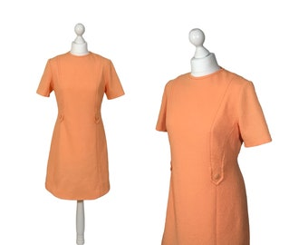 Vintage Mini Dress | Late 60s, Early 70s | Pale Tangerine Orange Vintage Dress | Crimplene Dress | Size UK 12/14