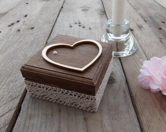 Ringbox Beaded heart-wedding/wedding/ring casket/Ring Box