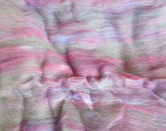 2.4 oz. Alpaca Handcrafted Carded Batt - All Natural Grey Alpaca Blended w/Hand Dyed Merino Top