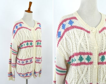 Vintage 1980's Cream Pink and Purple Cable Knit Cardigan - Long Sleeve Button Up Sweater - Pastel Shabby Chic - Mori Girl - Size Large