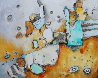 Pivot  12 x 12  Abstract Zen Painting original art in yellow,teal, gray by Jodi Ohl