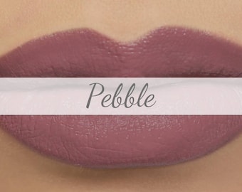 "Vegan Matte Lipstick Sample - ""Pebble"" greige mauve natural lipstick with organic ingredients"