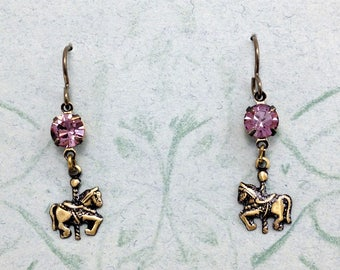 Tiny Carousel Horse Earrings with Swarovski Rhinestones and Niobium Earwires