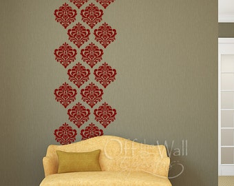 Damask wall decal,  set of 16 vinyl wall art