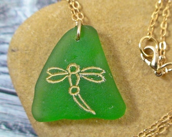 Dragonfly Sea Glass Necklace - Seaglass Jewelry - Beach Wedding - Beach Jewelry Bohemian Pendant - Dragonfly Jewelry - MTSG