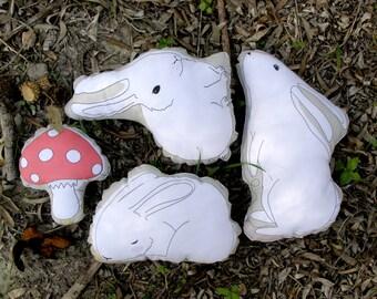 Easter bunny plush, white rabbit set, white bunny, plush bunny doll softie stuffed toy Easter bunny, birthday gift, Forest animals