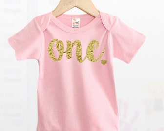 Pink First Birthday Outfit, First Birthday Outfit Girl, Pink and Gold First Birthday, Gold Glitter One, One year old girl outfit, One Shirt