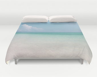 Calm Waters Duvet Cover, Ocean Decorative bedding, unique, Nautical, Dorm bedding, Aqua Blue bedroom, Surf, Water, Ocean Blue,Blue Shades