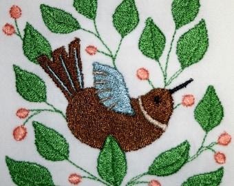 Bird Towel - Vintage Towel - Retro Towel - Embroidered Towel  - Flour Sack Towel - Hand Towel - Bath Towel - Apron - Fingertip Towel