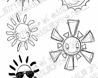 INSTANT DOWNLOAD Set of 10 Suns with and without faces Digi Stamp ~  Image No.313 & 313b  by Lizzy Love