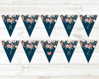 Bridal Shower Bunting Banner, Floral Bridal Shower Bunting Banner, Navy Gold Bridal Shower Bunting Banner - INSTANT DOWNLOAD