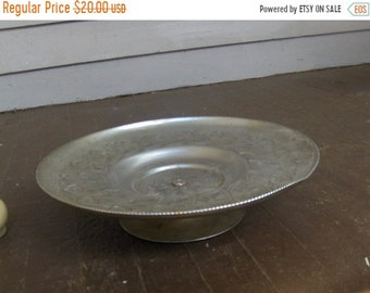 Vintage ART DECO Aluminum Hand Wrought Lazy Susan Metal Tray Cake Dish Swive
