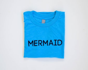Girls' Ocean Turquoise & Shimmer Ink Graphic T-shirt / Mermaid Youth Tee