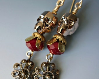 Gold Crystal Skull Filigree Earrings