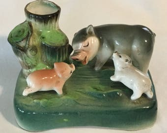 Vintage Ceramic Figural Pig with Piglets Bud Vase Made in Japan