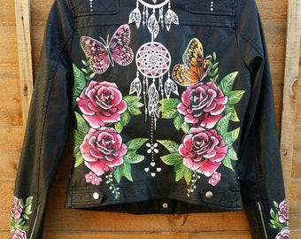 """Hand painted faux leather Jackets for weddings """"wifey""""/birthdays/anniversaries"""