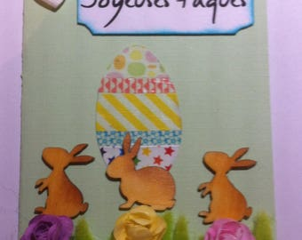 Card 3 D Happy Easter Bunny eggs