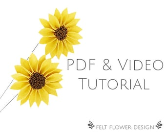 Flower tutorial - sunflower - PDF tutorial - felt