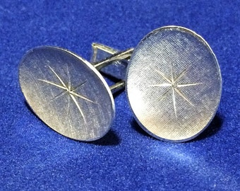Sterling Silver Oval Cuff Links Mens Textured Atomic Starburst Design Cufflinks Signed, Mid Century Mens Jewelry 518