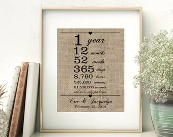 1st Wedding Anniversary Gift for Wife Husband | 1 Year Together | Years Months Weeks Days Hours Minutes Seconds | Personalized Burlap Print