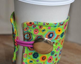 Wrap Around Coffee Sleeve - St. Jude Cotton Fabric/Coffee Cup Cozy/Reusable