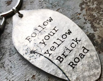 Follow Your Yellow Brick Road Keychain, Graduation Gift, Gift for Grad, Inspirational Silverware Accessories