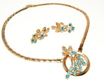 Blue Rhinestone Gold Jewelry Set, Oleg Cassini, Old Hollywood Glam Style, Vintage Designer Jewelry