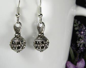 Nickel free earrings, surgical steel, stainless steel, filigree dangle earrings, silver drop earrings, boho chic, silver bohemian earrings