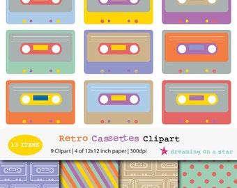 Cassette Clip Art, Retro Clip Art, 80s Clip Art, Tape Clip Art, 80s Scrapbook, Eighties Clip Art, Cassette Tape, Commercial Use