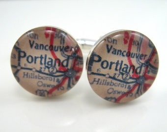 Vintage map cufflinks - Portland and Vancouver 1950s  - silver-plated round