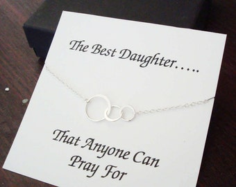 Triple Half Flat Circle Infinity Silver Bracelet ~~Personalized Jewelry Gift Card for Daughter, Step Daughter, Daughter in Law, Bridal Party