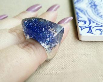Blue Resin Ring - Electric Blue Ring - Resin Ring - Resin Jewelry -Glitter Ring -Electric Blue Glitter -Chunky Resin Ring - Glitter Size 6.5