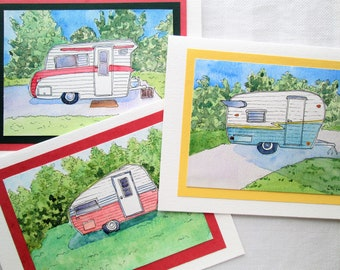 Vintage Trailer Cards Hand-painted OOAK  India Ink Pen and Ink with Watercolor  Shasta Trailer Card Large Card SallysWatercolors Sally Lavin