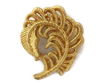 AAI Leaf Brooch, Vintage Swirl Pin, Grooved Leafy Curved Brooch, Gift Idea