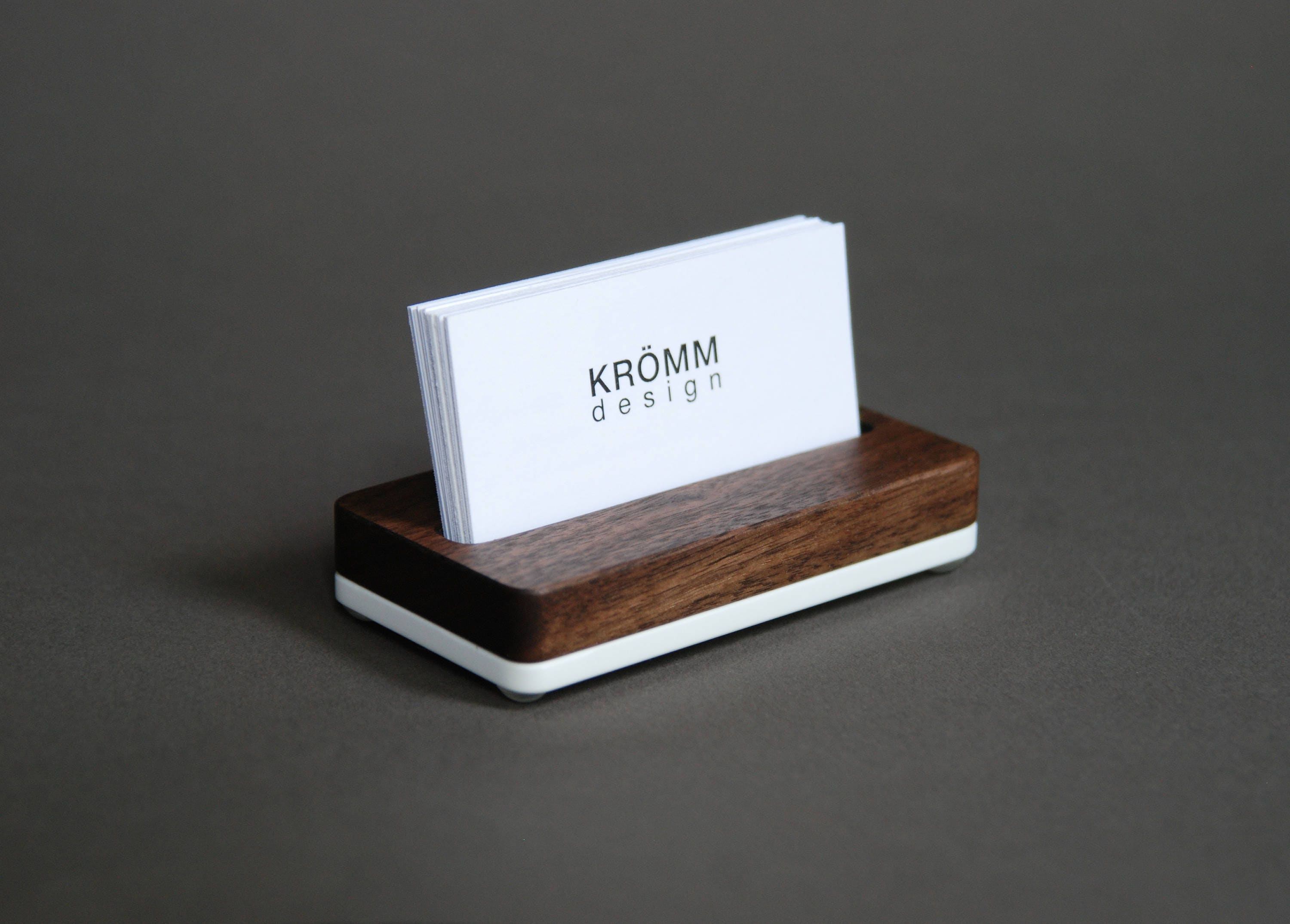 Wood Single Business Card Stand / Walnut Wood and Acrylic