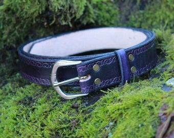 125cm classic engraved belt, leather, width 3cm