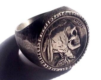 Sterling Silver Buffalo / Indian Head Nickel Skeleton Skull Hobo Nickel Mans Mens Ring