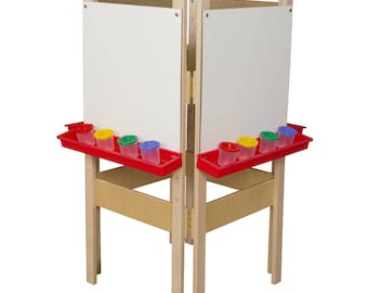 Classroom Easel, 4-Sided Adjustable Kid's Art Easel with Markerboard Art Surface and Red Trays